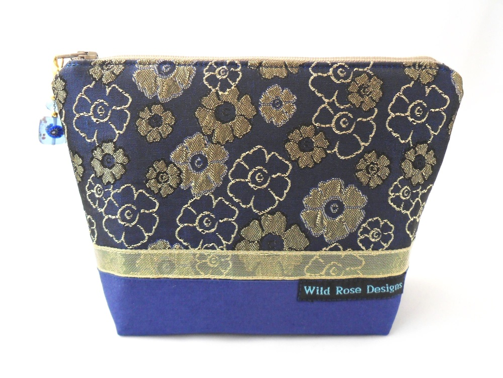 Navy and dark gold brocade make-up bag