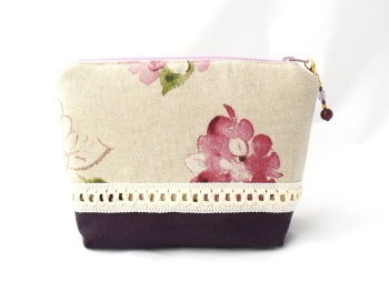 Floral make-up bag with braid trim