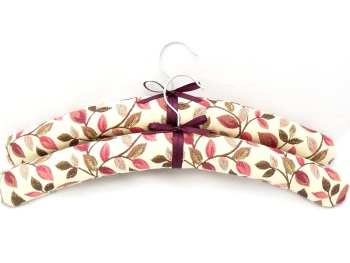 Pink floral padded coat hangers