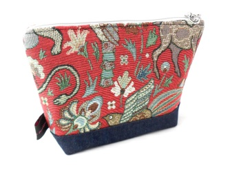 Red tapestry fabric makeup bag
