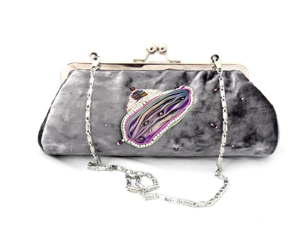 Lilac velvet evening bag