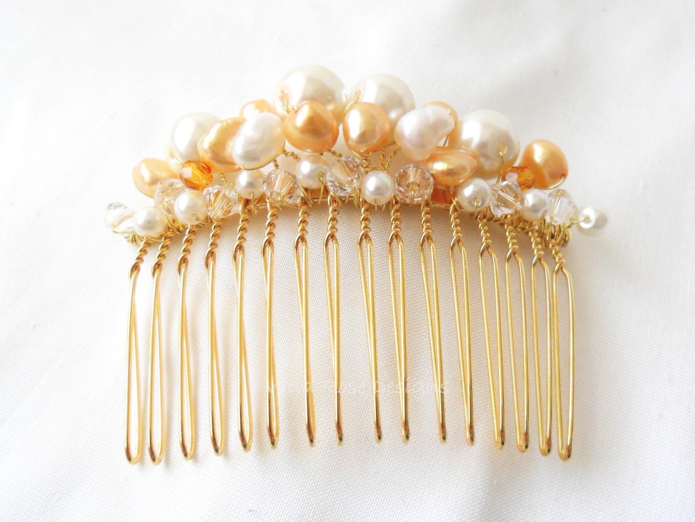 Handmade Bridal comb in gold
