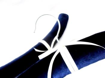 Dark blue velvet padded coat hangers