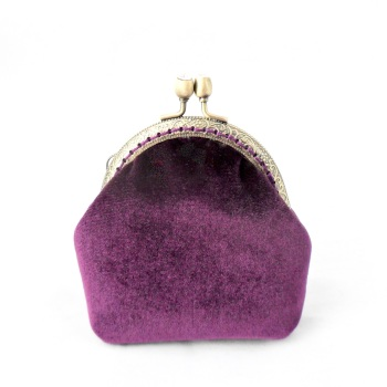 Purple velvet coin purse