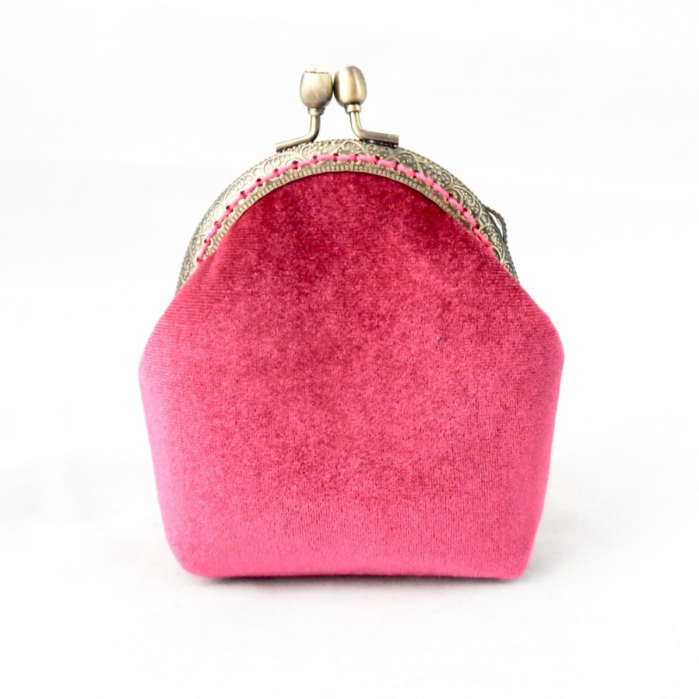 Pink velvet coin purse