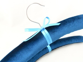 Teal velvet padded coat hangers