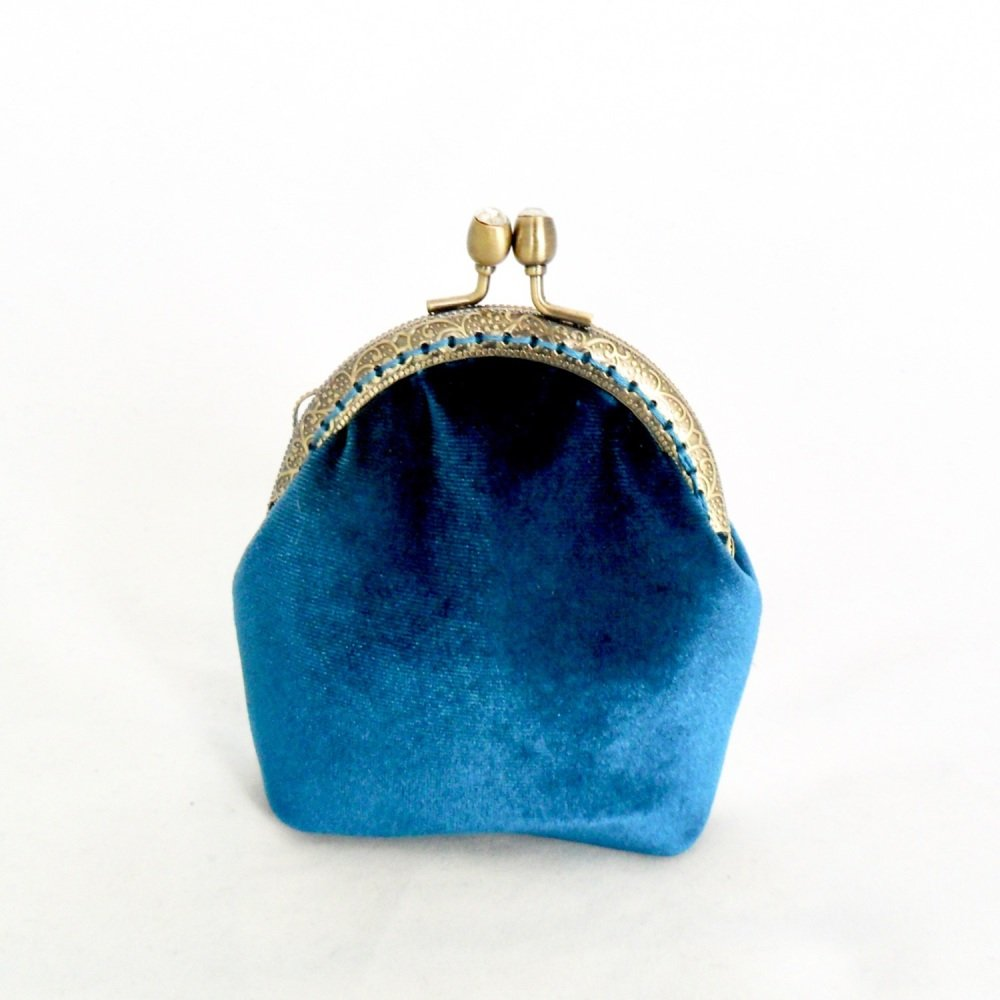 Teal velvet purse with diamante clasp
