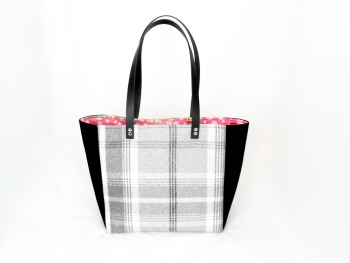 Black, and grey check tote