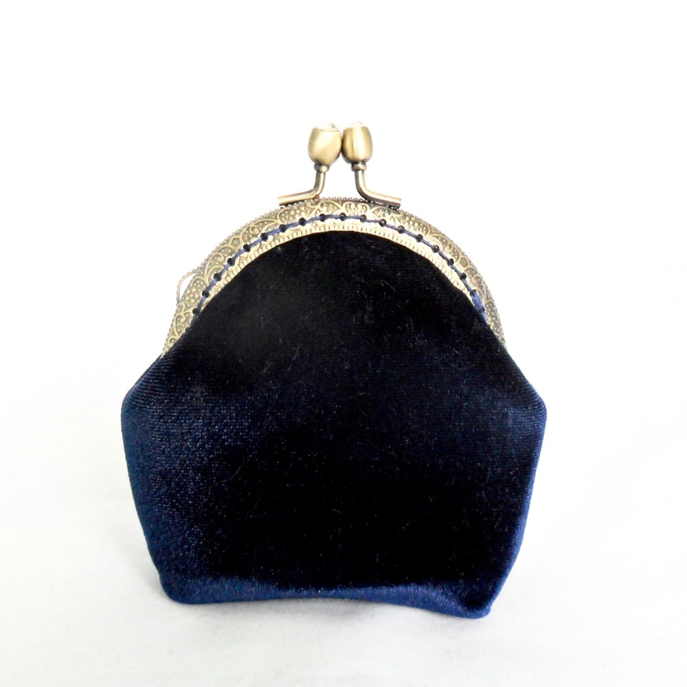 Navy velvet coin purse