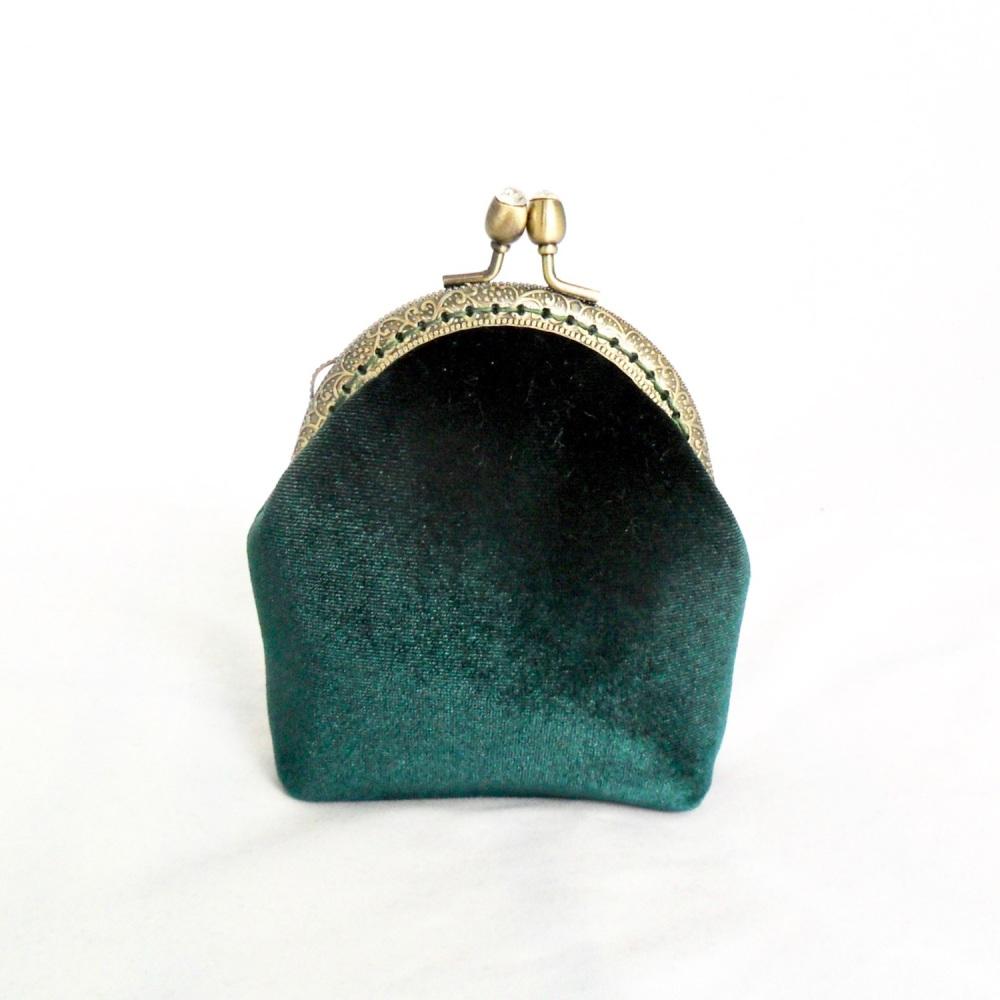 Dark green velvet coin purse
