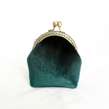 Dark green velvet coin purse