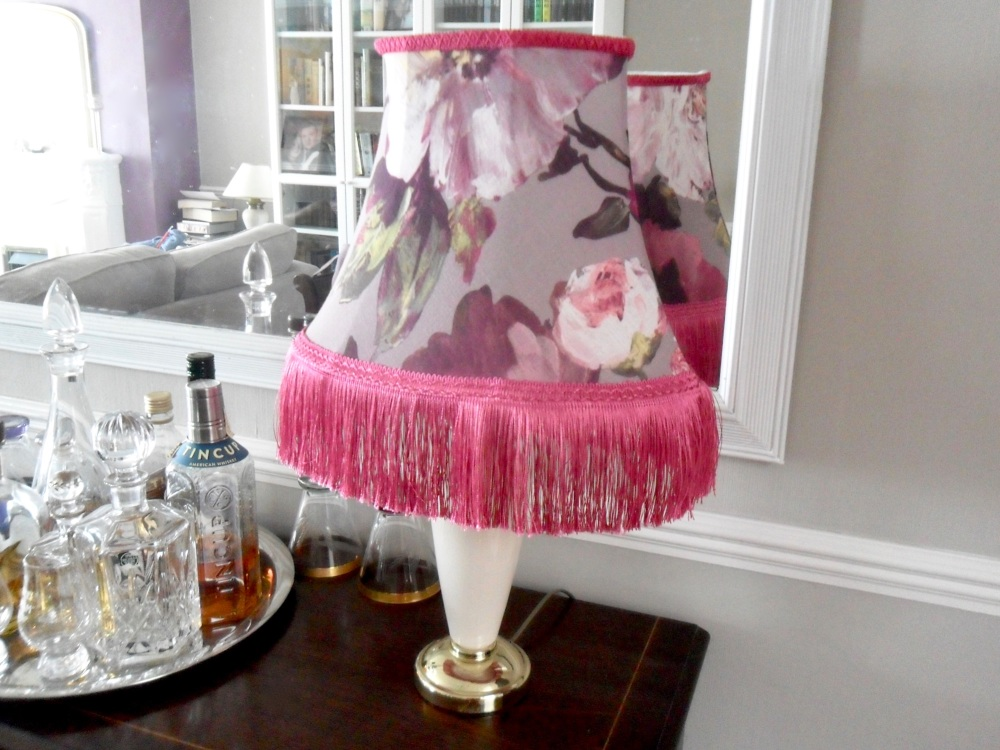 Pink floral lampshade
