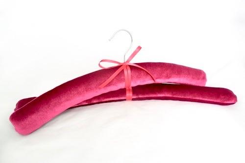 Pink velvet padded coat hangers