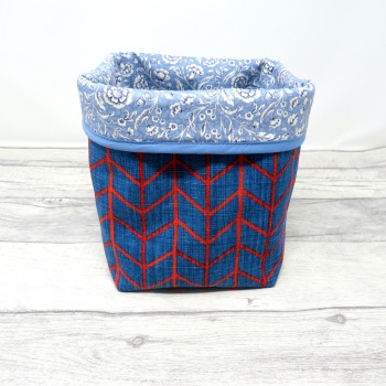Medium blue fabric  storage tub