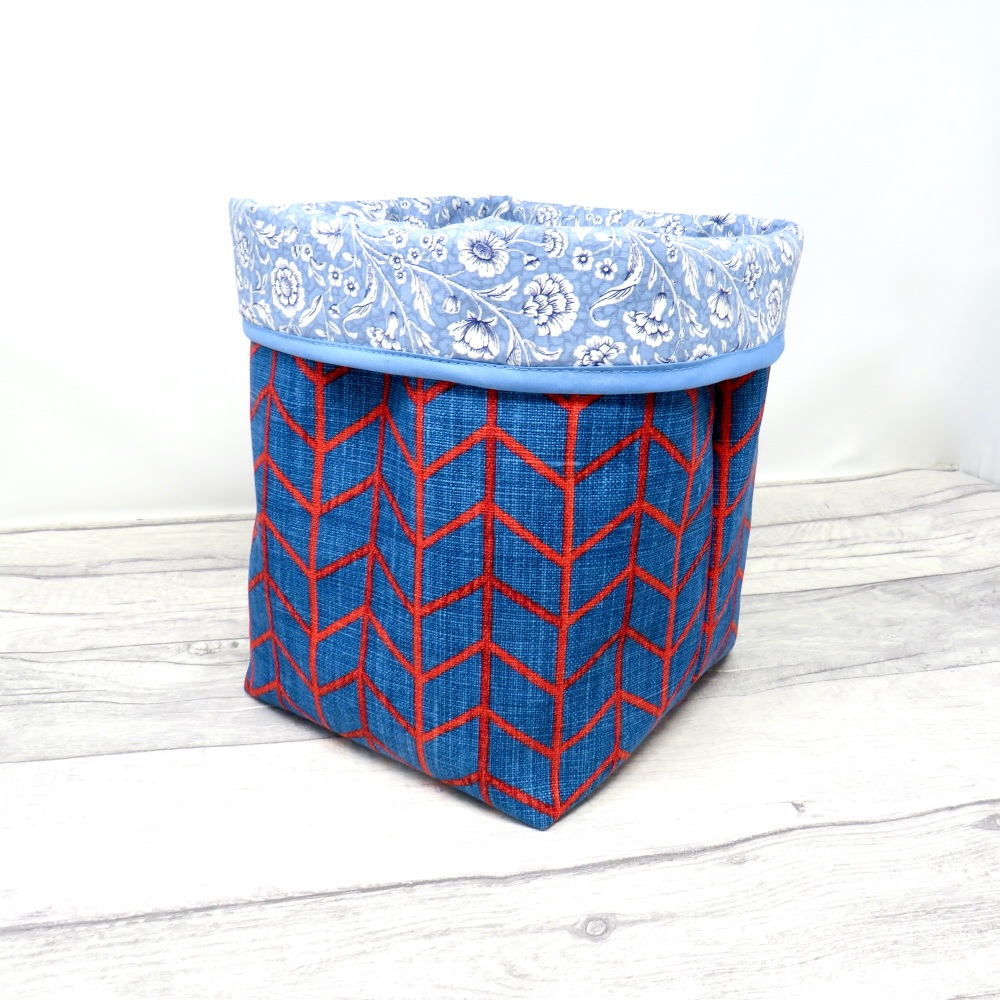 Large blue fabric storage bin