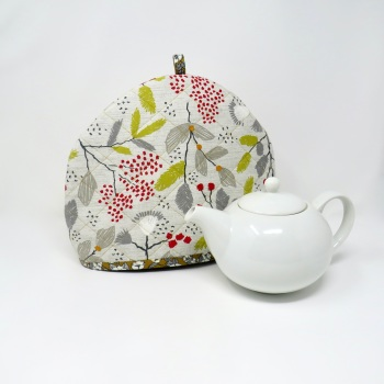 Quilted tea cosy in a Scandi print