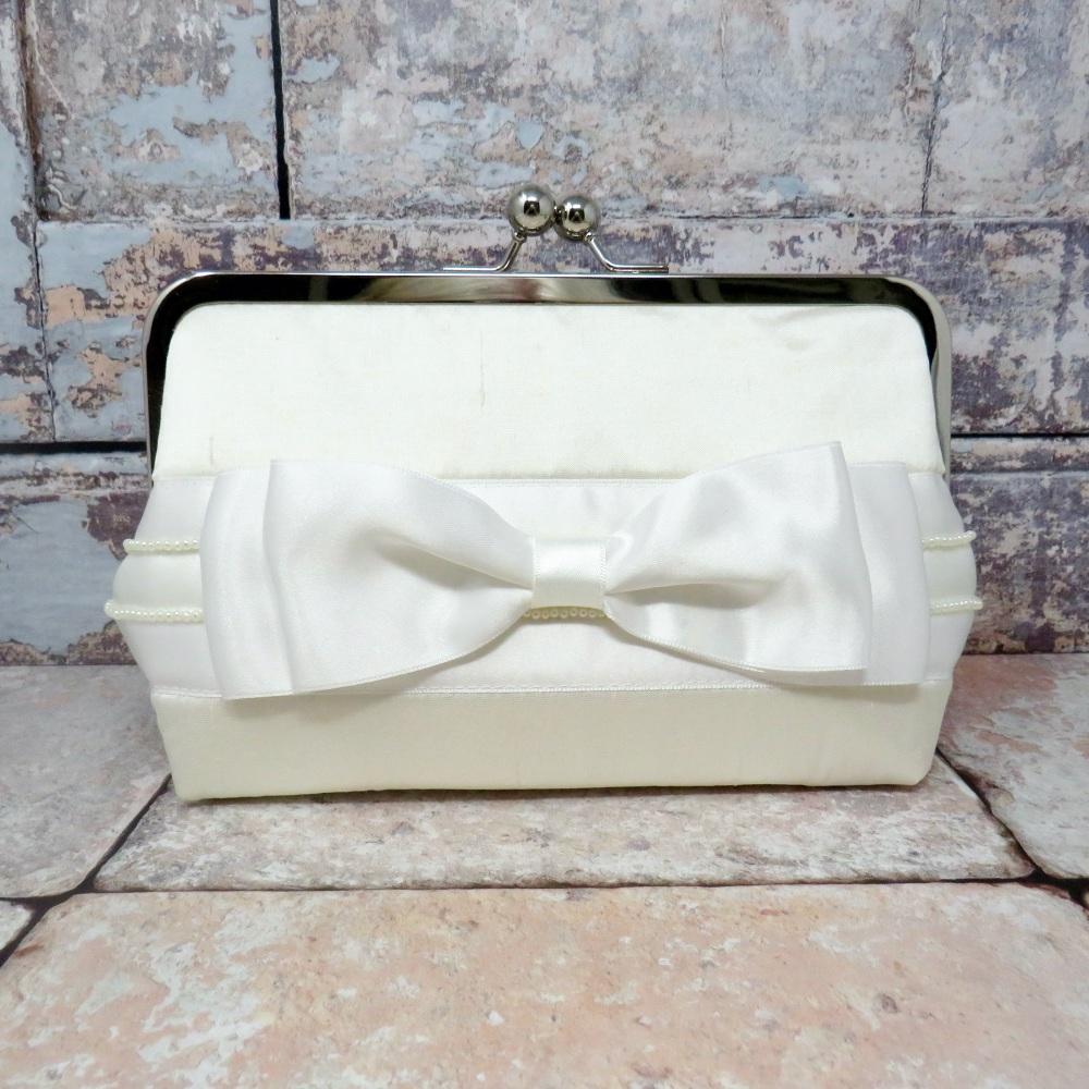 Ivory silk wedding bag
