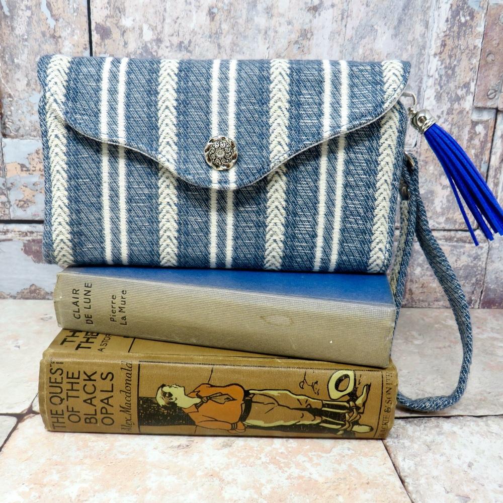 Striped clutch wallet