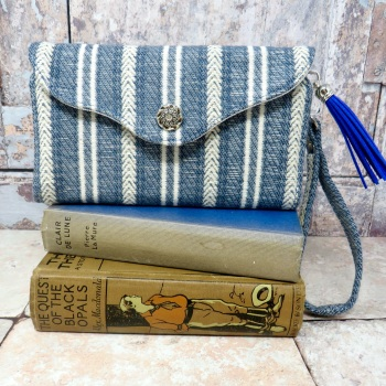 Striped clutch wallet