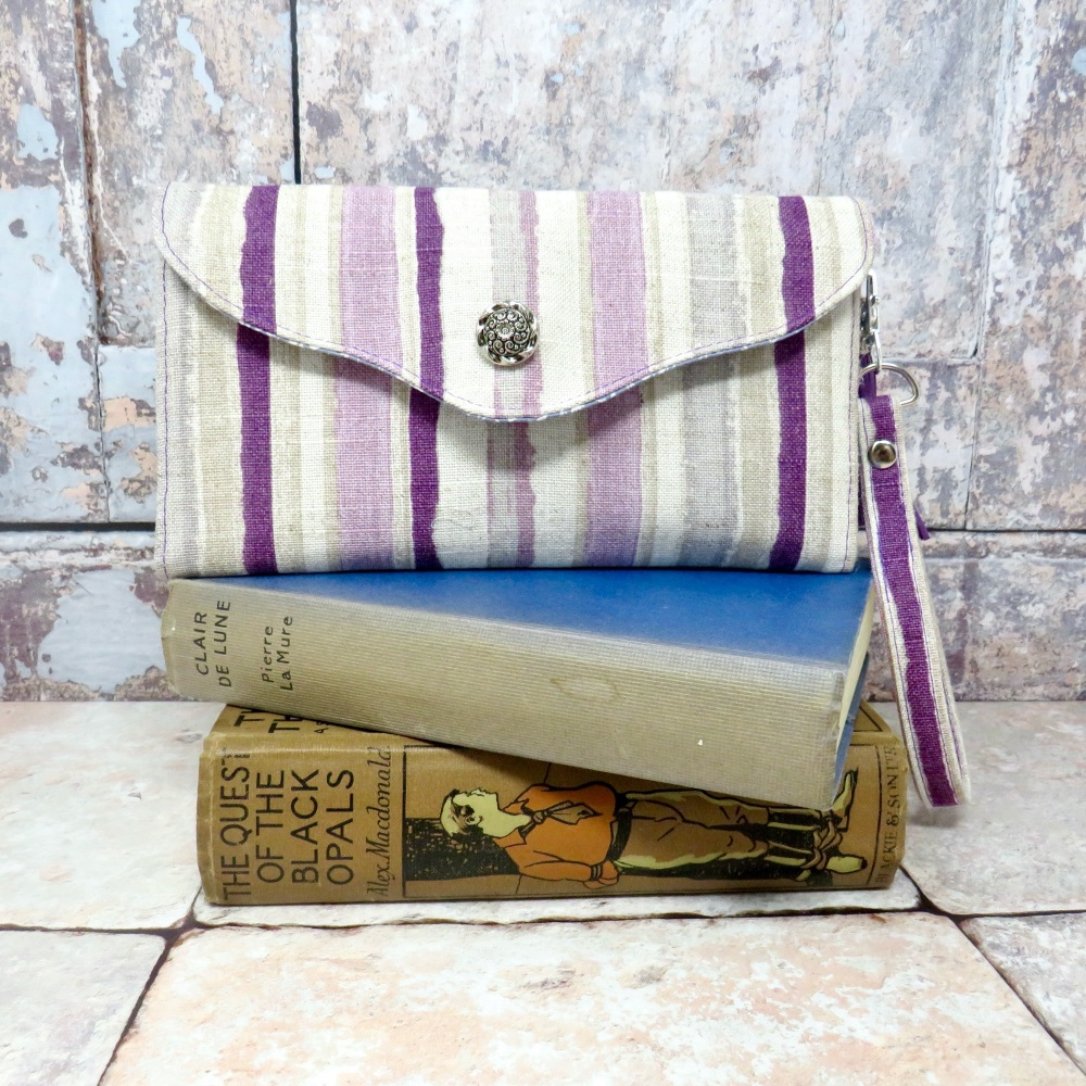 Purple striped clutch wallet