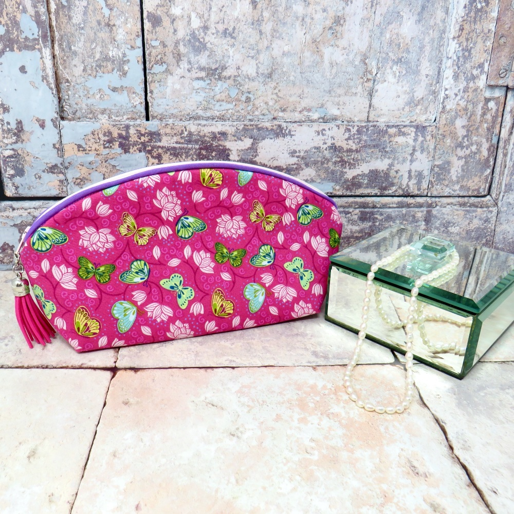 Pink butterfly make up bag