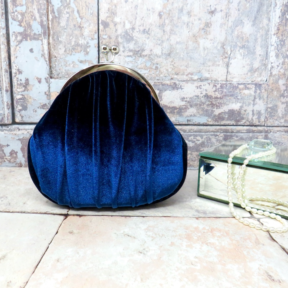 Navy evening bag