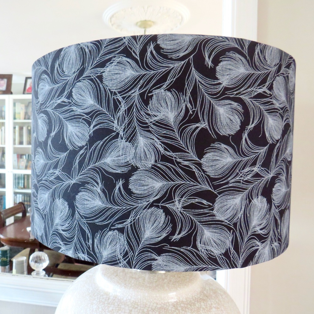Feather lampshade in black