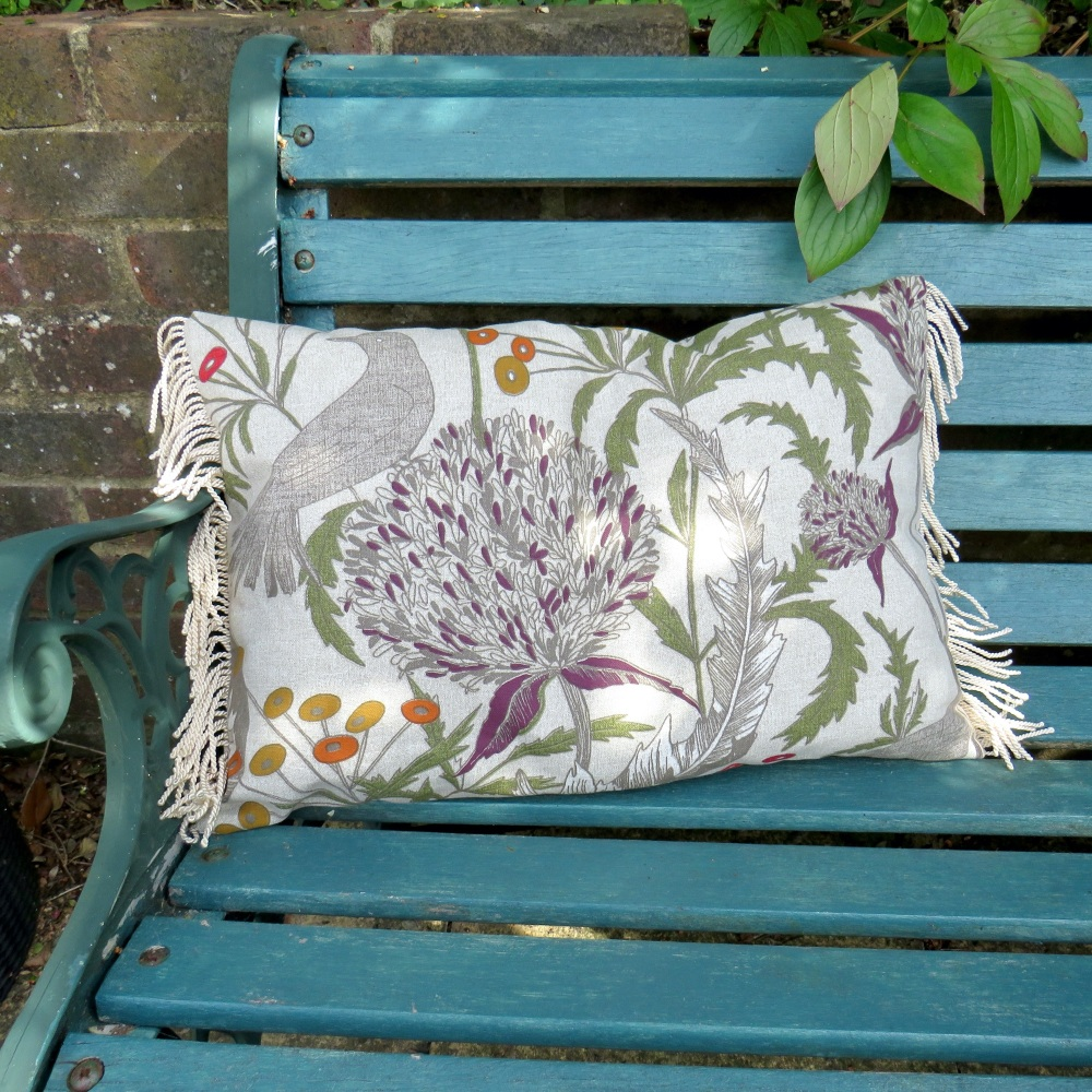 Bloom and bird print cushion
