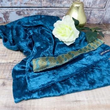 Teal velvet scarf