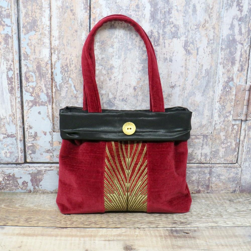 Burgundy and gold velvet bag