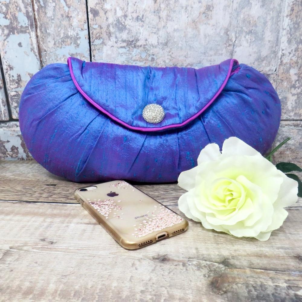 Blue silk evening bag