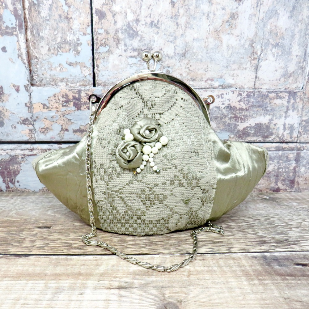 Vintage style satin and lace bag