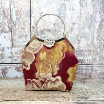 Wine and gold  evening bag