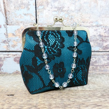 Small Teal and black evening bag