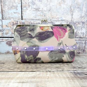 Floral silk evening bag