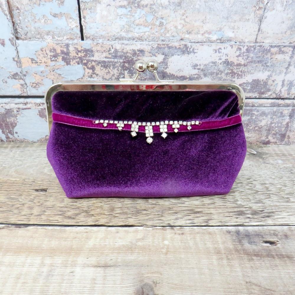 Purple velvet evening bag with vintage trim
