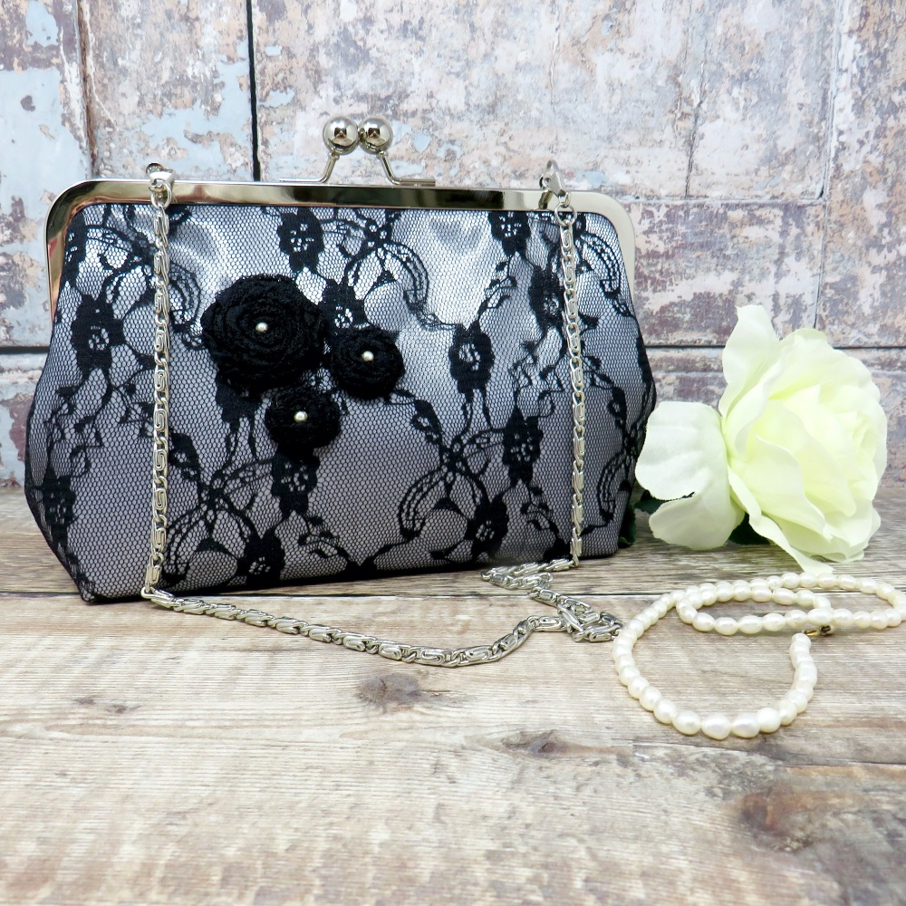 Satin and lace evening bag