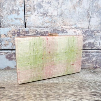 Pink and green minaudière clutch
