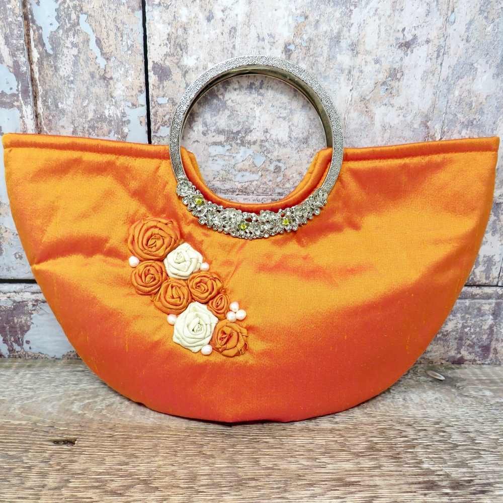 Tangerine silk Occasion Bag