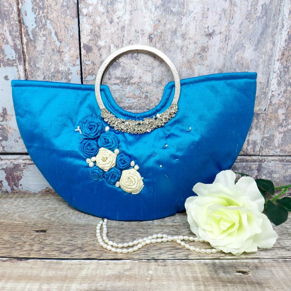 Blue Silk Wedding Bag