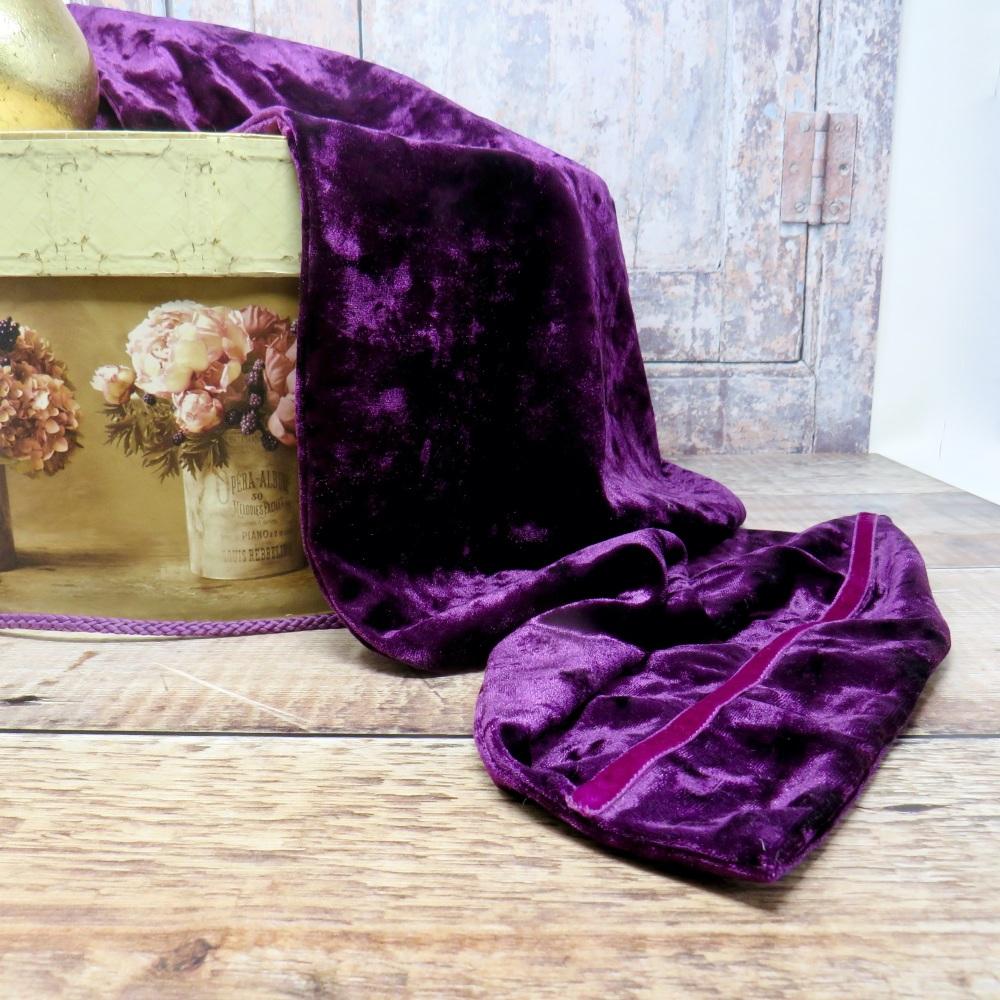 Aubergine crushed velvet scarf