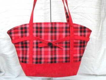 'Ruby' red tartan tote
