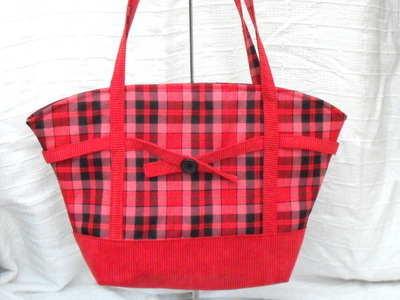 'Ruby' handmade,red tartan tote