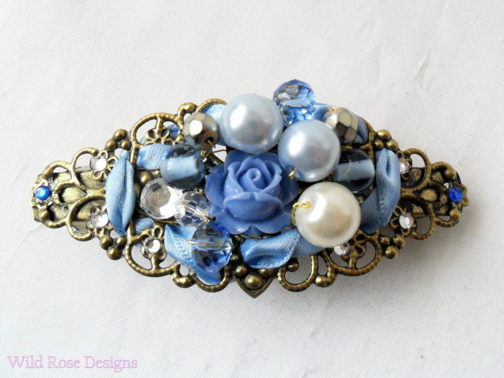 Bronze vintage inspired hair barrette in shades of blue