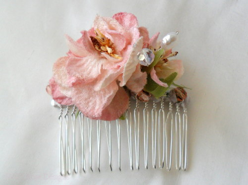 Pink floral hair comb