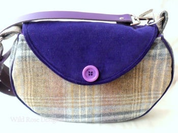 Blue wool tweed shoulder bag