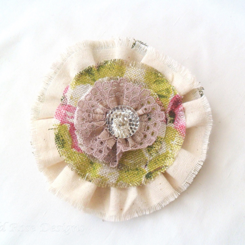 Floral fabric brooch