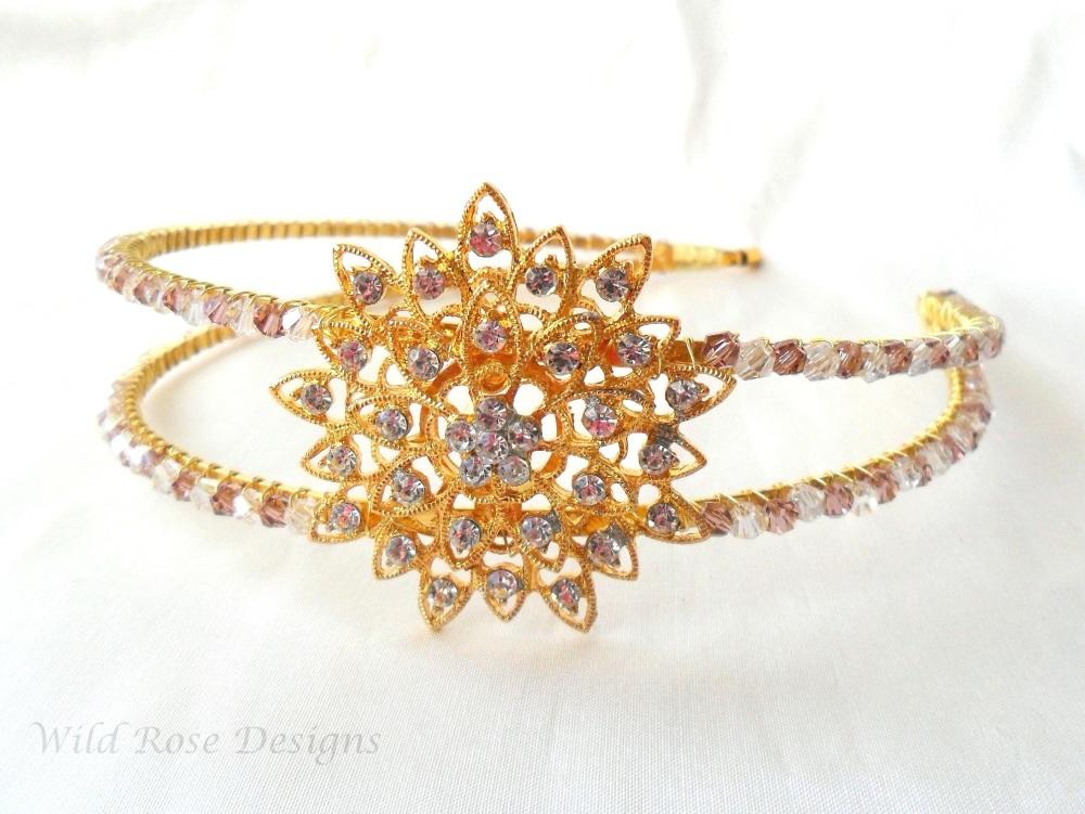 Gold, Amethyst and Diamante Tiara