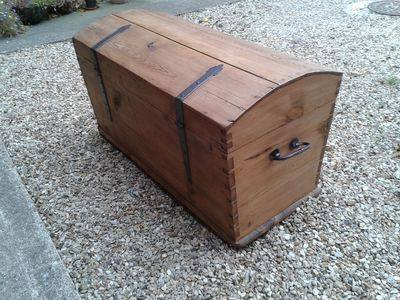 Early Pirate style Chest with wooden rivets & original ironwork / lock / key