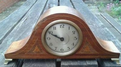 English miniature inlaid mahogany Mantel clock